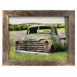 New Primitive Farmhouse Rustic Vintage Green Truck Lavender Field Picture Framed