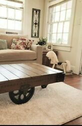 Unique Lineberry Factory Railroad Cart Coffee Table