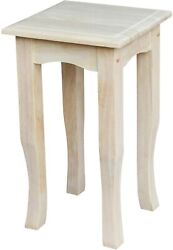 Square Tea Table Plant Telephone Flared Legs Durable Unfinished Wood Molded Top