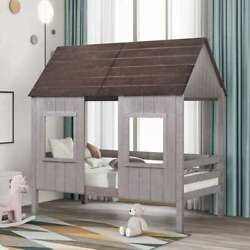 Twin Low Loft Wood House Bed W/ Two Front Windows Roof For Kids Teens Bedroom Us