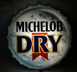 Vintage Michelob Dry Ultra Beer Bottle Cap Round 14in Wall Sign Light Decoration