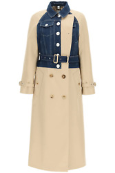 New Long Trench Coat With Denim Inlays 4567672 Soft Fawn Authentic Nwt