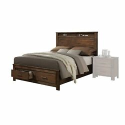 Oak Finish Queen Bed With Storage Headboard And Footboard