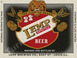 Lemp Extra Pale Beer Label 9 X 12 Metal Sign