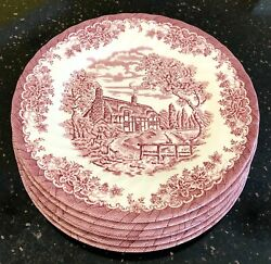 Churchill Malaysia The Brook Pink Pattern 10 Dinner Plates Set Of 6