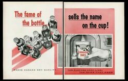 1957 Canada Dry 10 Soda Bottle Vending Cup Art Movie Theater Trade Print Ad