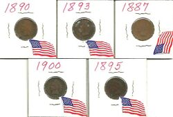 Lot Of 5 Us Indian Head One Cent Penny Coins 1887 To 1900