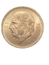 1959 Mexican Gold 10 Pesos Real Nice Lots Of Detail Maybe Ms Definitely Bu/au