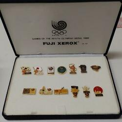 1988 Seoul Olympics Commemorative Pin Badge 13 Pieces In A Case Vintage Rare