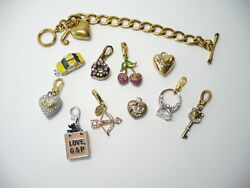 Juicy Couture Bracelet Charms Arrow Donut Ring Heart Cherries Lot Of 12