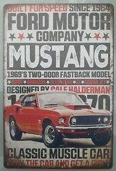 Ford Mustang Boss 1969 Metal Sign Vintage Style Man Cave Bar Garage New