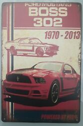 Ford Mustang Boss 302 Metal Sign Vintage Style Man Cave Bar Garage New