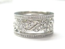 Floral Diamond Wide Band Ring 14kt White Gold 14kt1.50ct