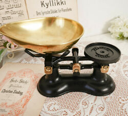 1970s Vintage English Kitchen Scales Weights Cast Iron Brass Bowl England Victor