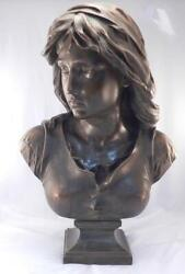 Large 22 Antique 19thc French Bronze Sculptureeugene A. Aizelinjoan Of Arc