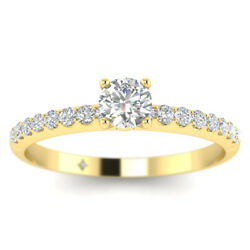1.16ct D-si1 Diamond Round Engagement Ring 18k Yellow Gold Any Size