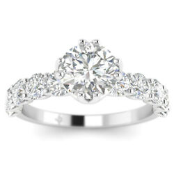 1.7ct D-si1 Diamond Shared Prong Engagement Ring 950 Platinum Any Size
