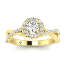 1ct D-si1 Diamond Round Engagement Ring 14k Yellow Gold Any Size
