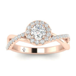 1ct D-si1 Diamond Crossover Engagement Ring 14k Rose Gold Any Size