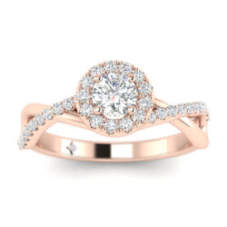 1ct D-si1 Diamond Infinity Engagement Ring 18k Rose Gold Any Size