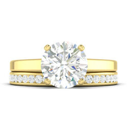 0.91ct D-si1 Diamond Cathedral Engagement Ring 18k Yellow Gold Any Size