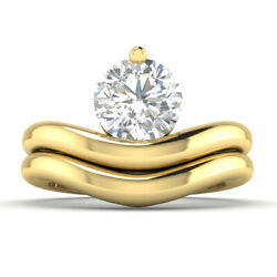 0.9ct D-si2 Diamond Round Engagement Ring 14k Yellow Gold Any Size