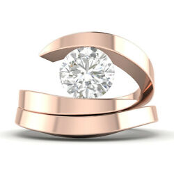 0.9ct D-si2 Diamond Round Engagement Ring 14k Rose Gold Any Size