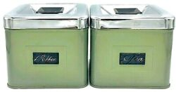 Vintage Green Coffee And Tea Kitchen Tin Canisters Silver Lids Rare From Eaton's