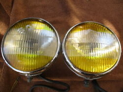 1937-1948 6 11/16 Inch B-l-c Guide Two Tone Fog Driving Lights Buick Gm Others