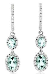 1.45ct Diamond And Aaa Aquamarine 14kt White Gold 3d Oval And Round Hanging Earrings