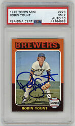 1975 Brewers Robin Yount Signed Rookie Card Topps Mini 223 Psa 7 Auto Gem Mt 10