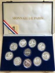 1992 France Olympic Albertville Silver Coin Set 9 Coins 100 Franks - Proof - Box