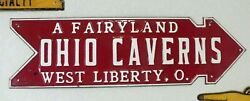 Old Vintage Antique Caverns Sign Heavy Metal Road Sign Ohio Fairyland Arrow To