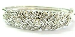 Round And Baguette Diamond Bangle 18kt Solid White Gold 2.13ct H-i Vs2