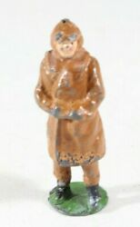 Vintage Barclay Manoil Type Lead Figure Woman In A Brown Dress 1950s