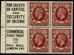 1½d Sg 441 Advertising Booklet Pane Of Six No.12 'safety Of Capital/commericia