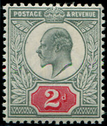 2d Sg 226 Variety, 'grey-green' And Deep Carmine-red' U/m, Fab Colour Of This V