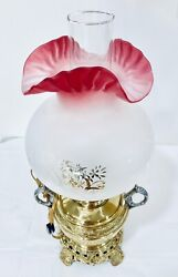 Antique Victorian Cranberry Etched Oil Lamp Flare Shade Brass Electrified 1800