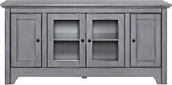 52 Wood Tv Media Stand Storage Console - Antique Grey Pack Of 2