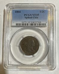 Half Cents Draped Bust 1800 - 08 Copper 1804 P Pcgs Vf-35 Bn Spiked Chin