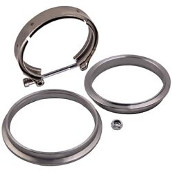 4 Universal Stainless Steel V-band Clamp W/ Flange For Turbo Exhause Down Pipe
