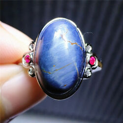 Natural Blue Pietersite Namibia Cat Eye Chatoyant Adjustable Ring 16x10mm Aaaa