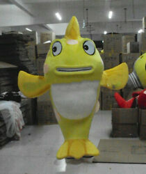 Yellow Fish Mascot Costume Suit Cosplay Party Fancy Dress Outfit Adult Parade Us