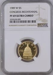 Four Gold Commemoratives 1989 W Ngc Pf69 And Ms69 5 Gold Congress Bicentennial