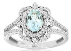 1.01ct Diamond And Aaa Aquamarine 14kt White Gold Oval And Round Filigree Crown Ring
