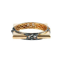 14kt Yellow Gold 3.60ct Pave Diamond Sterling Silver Vintage Look Bangle Jewelry
