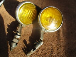 1930and039s 6 Inch Cats-eye Script Fog Lights With Brackets