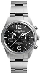 Brand New Bell And Ross Vintage Br-126-original-black-steel Menand039s Watch Msrp 4500