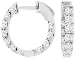 1.50ct Diamond 14kt White Gold 3d Round Inside Out Huggie Hoop Hanging Earrings