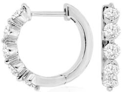 1.0ct Diamond 14kt White Gold 3d Round Inside Out Huggie Hoop Hanging Earrings